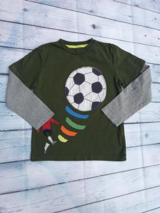 Mini Boden green and grey layered long sleeve top with applique football age 6-7